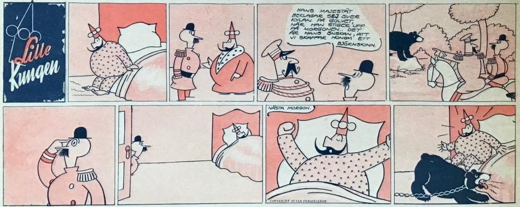 En söndagsstripp med Lille kungen ur Veckans serier nr 25, 1943. ©Bulls