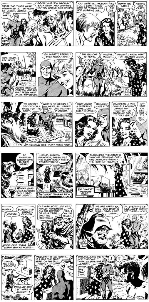 Motsvarande dagsstrippar i original, som inleder den 140:e episoden, Den 22:e Fantomen (The Heirs), som dessförinnan varit publicerad i serietidningen Fantomen nr 20, 1979. ©KFS