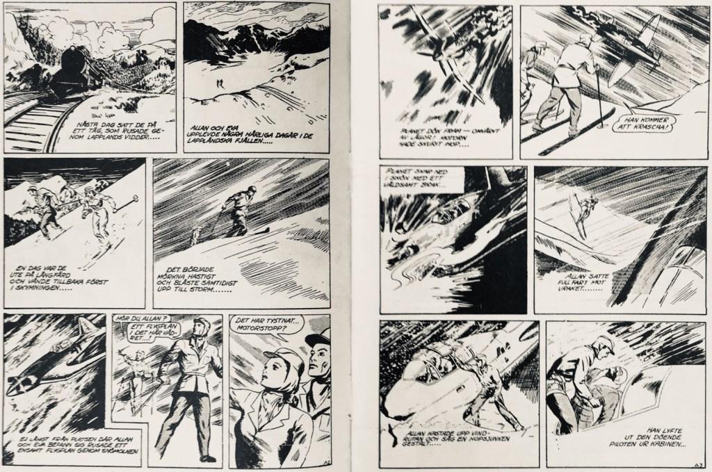 Sidan 2-3 av episoden ur SerieNytt nr 4, 1962, som hämtade underlaget från dagsstrippsversionen. ©Bulls