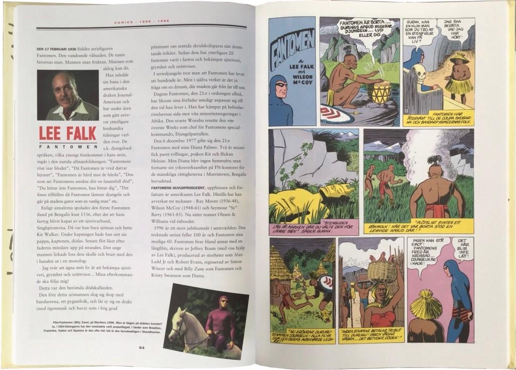 Ett uppslag ur Comics – Serierna 100 år. ©Hegerfors/Åberg/Bulls