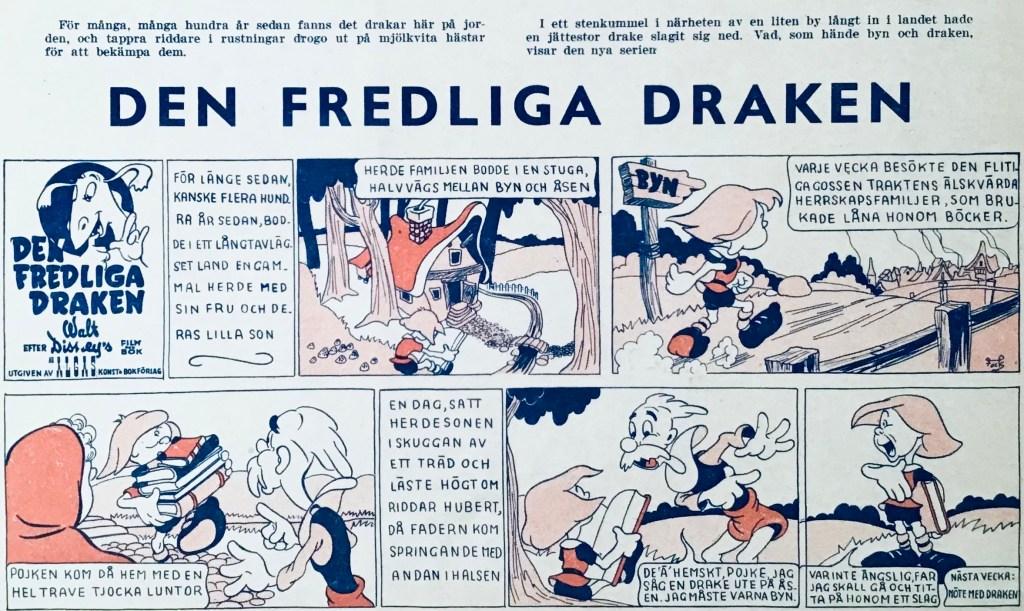 Introduktionen av Den fredliga draken i Veckans serier nr 26, 1943. ©Disney