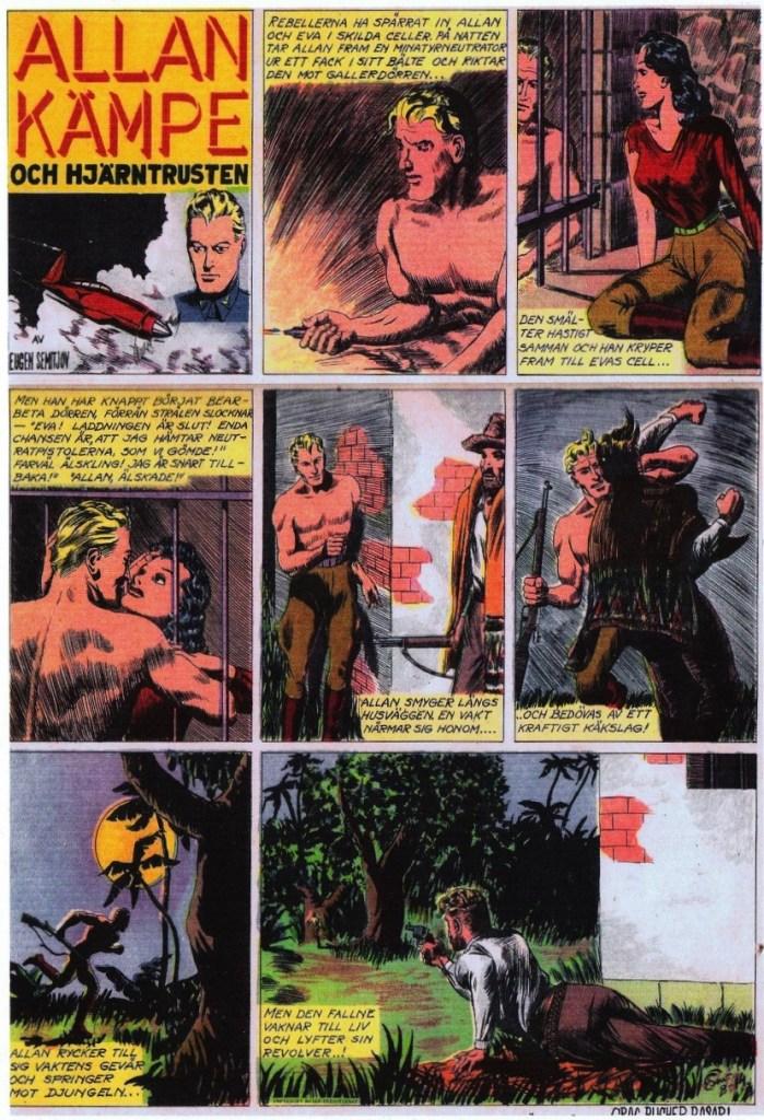Veckoserien med Allan Kämpe i Veckans Serier nr 35, 1943, avsnitt B-14. ©Bulls
