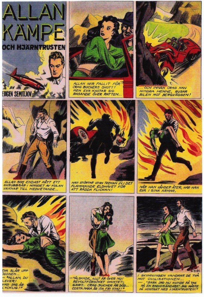 Veckoserien med Allan Kämpe i Veckans Serier nr 42, 1943, avsnitt B-21. ©Bulls