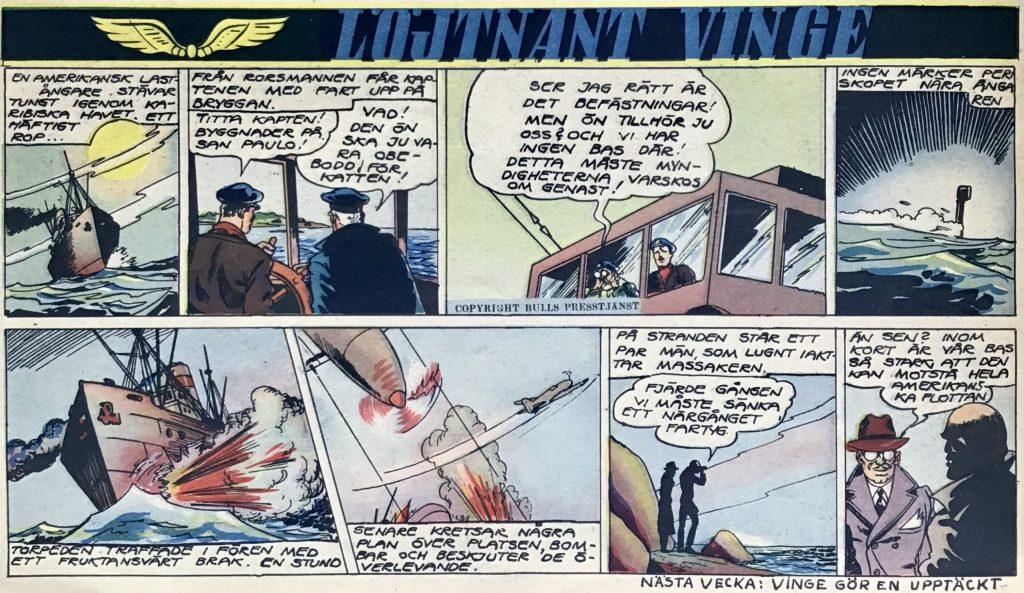Inledningen av en ny episod med Löjtnant Vinge i Veckans serier nr 25, 1943. ©Bulls