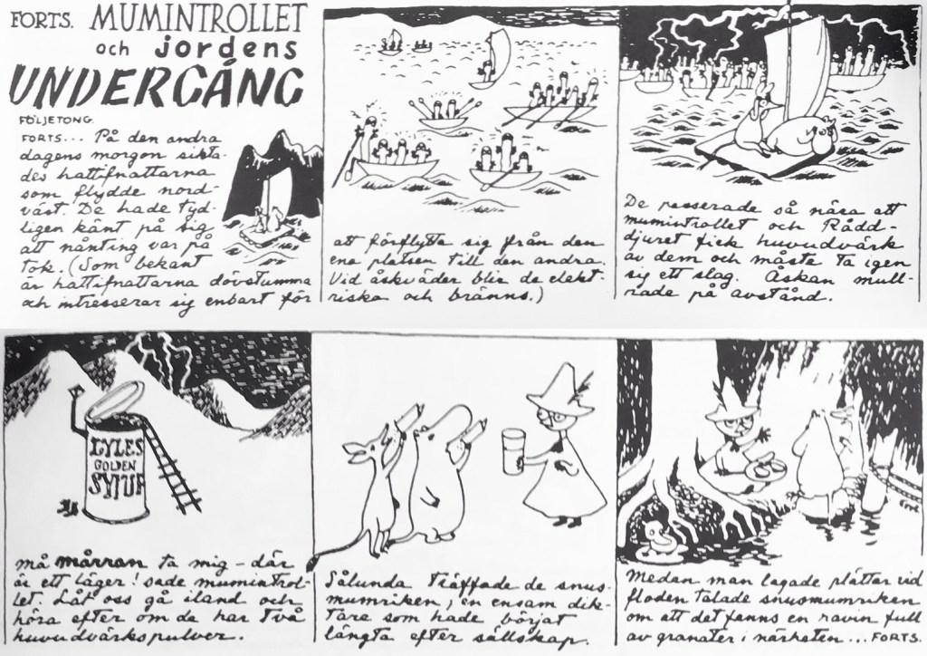Den femte veckostrippen ur den första Muminserien. ©Moomin Characters