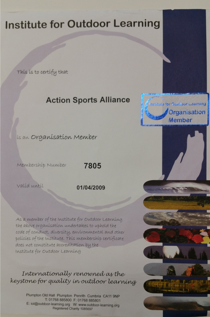 Action Sports Alliance membership of the Institute of Outdoor Learning