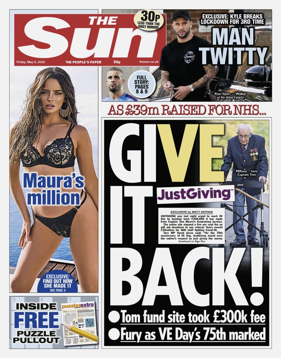 Front page of The Sun with article about Just Giving fees