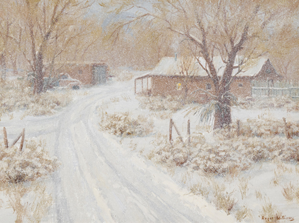 "Chamisa in Winter<br /> 18"" X 24"" Oil on Linen"