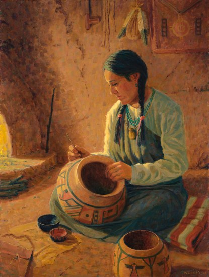 hopi western art art fine art oil painting figurative pueblo art Roger Williams