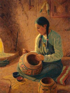 Artist Roger Williams of Santa Fe, Western art, art , fine art, oil painting, Hopi, Native American ,pot maker, pueblo culture