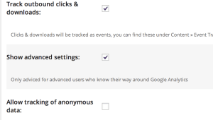 show advanced settings option in yoast Google Analytics for WordPress