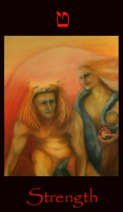 tarot strength, Strength tarot card. Major arcana tarot card used for astral projection and shamanic vision
