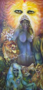 Inanna, Ishtar, shamanism, Roger Williamson symbolic mythological artist. . Original fine art oil paintings, tarot cards and greeting cards, prints and posters.