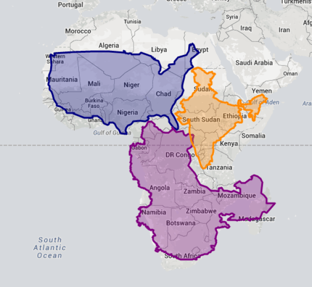 Africa the true size of africa will blow your mind rogma as a result we tend to underestimate the size of countries close to the equator and substantially overestimate the size of countries closer to the poles gumiabroncs Choice Image