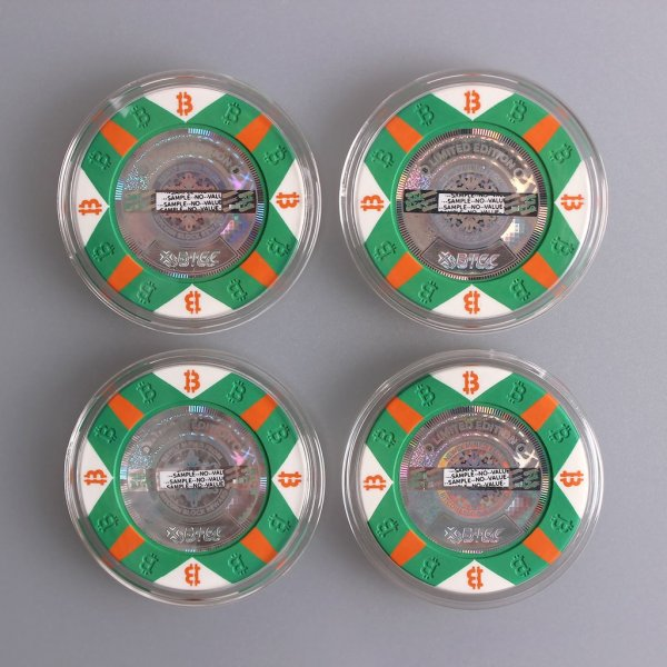 Four pieces of the limited edition Series C Green Pokerchip style 25K bits Physical Bitcoin.