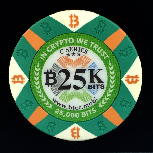 One 25K Bit Value Green Casino Chip C series Physical Bitcoin from the BTCC Mint.