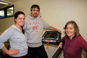 Amanda Dickey and Chip Layton, RCC Physical Therapy Assistant students (left) with Susan Wallace, a Lane Community College instructor.