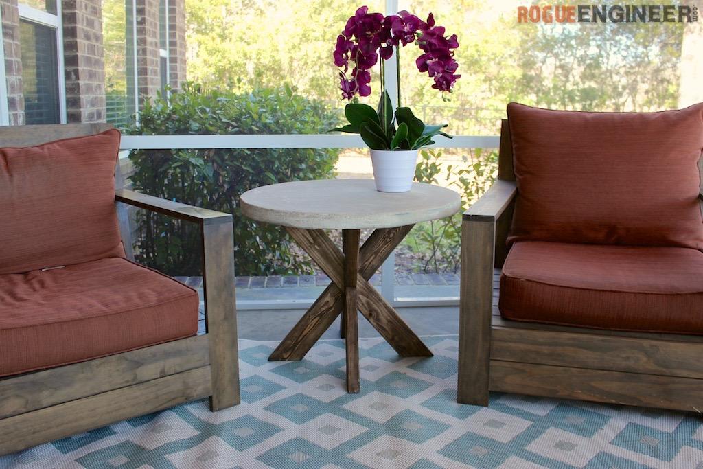 DIY X-Brace Side Table W/ Concrete Top