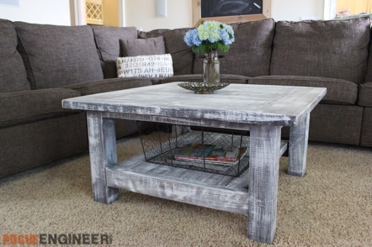 Square Coffee Table w/ Planked Top { Free DIY Plans } on Coffee Table Plans  id=41085