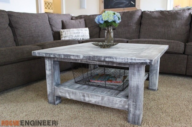 square coffee table w/ planked top { free diy plans }