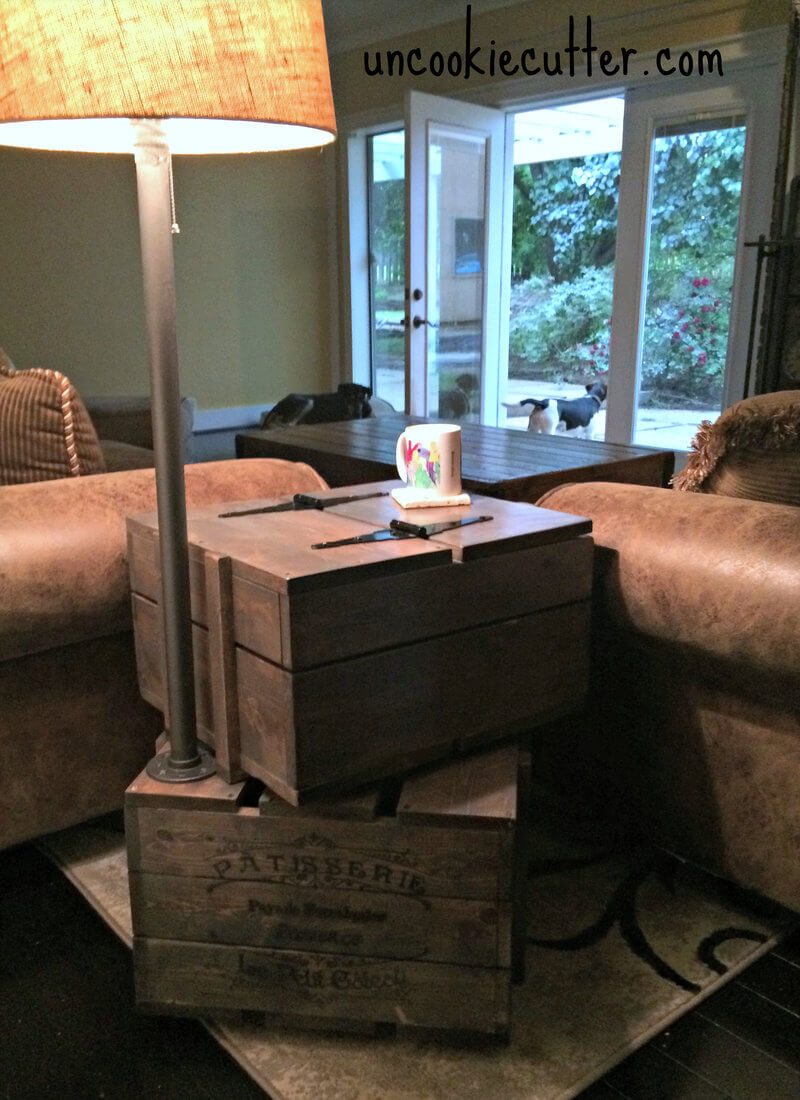 stacked crate end table free diy