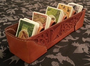 Completed leather card sorter withCards