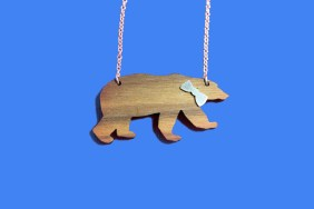 wooden bear necklace with silver bowtie