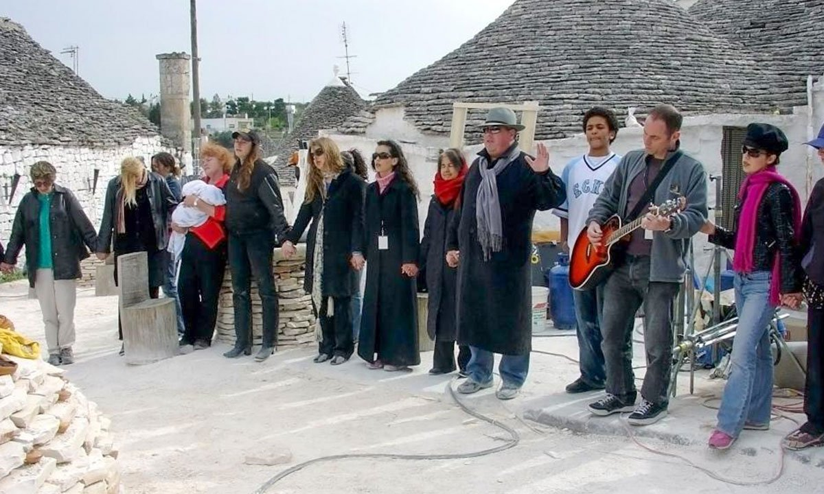 The crew of WYSIWYG Films on-location in Crete during the filming of their first feature.