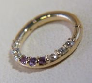 Metal - Body Gems gold and CZ hinged ring
