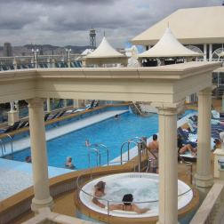 Cruise ship pool deck is a favourite place to hang out for cruise goers especially during the sea days.