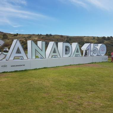 Canada150 signs were all over the country, and RandomsTravels enjoyed road trips to many of them.