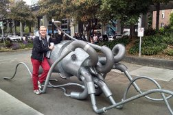 Nick posing with a giant squid, when roguetrippers visited the Seattle Aquarium