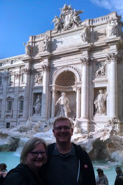 Nick and his Mum visit Trevi fountain during a cruise to Rome.