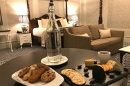 Room service included cookies, and a cheese platter.