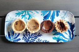 A display of the butter tarts from Culbert's bakery for the Roguetrippers buttertartquest.