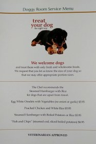 The Doggy room service menu at the Hawthorne Hotel is veterinary approved, making them a very pet friendly hotel that Roguetrippers love.
