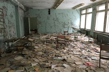 School books scattered around the floor of the Chernobyl School