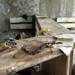 The front desk and receptionist area of the Pripyat Hospital in the Exclusion zone.