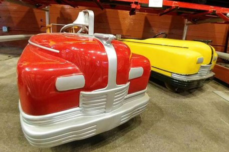 Crystal Beach Amusement Park rides on display at the Herschell Factory Museum