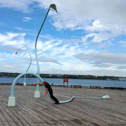 The melted lamp sculptures on Halifax Waterfront