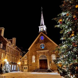 gorgeous winter scene in Vieux Quebec during Carnaval