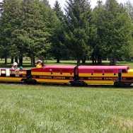 A miniature train runs through Riverside Park in Guelph
