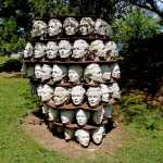 The many racks of Heads at the Donald Forster Sculpture garden in Guelph