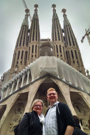 Nick and Tanya Kulnies visit Sagrada Familia in Barcelona