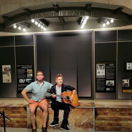 Nicholas Kulnies of Roguetrippers hanging out with Justin Bieber at the Stratford Perth County Museum