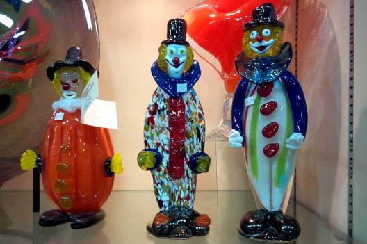 Hand Blown Glass clowns travel souvenirs in Niagara Falls