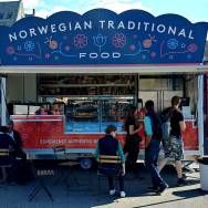 Roguetrippers tried the Norwegian Traditional Foods that included waffles with brown cheese in Bergen, Norway