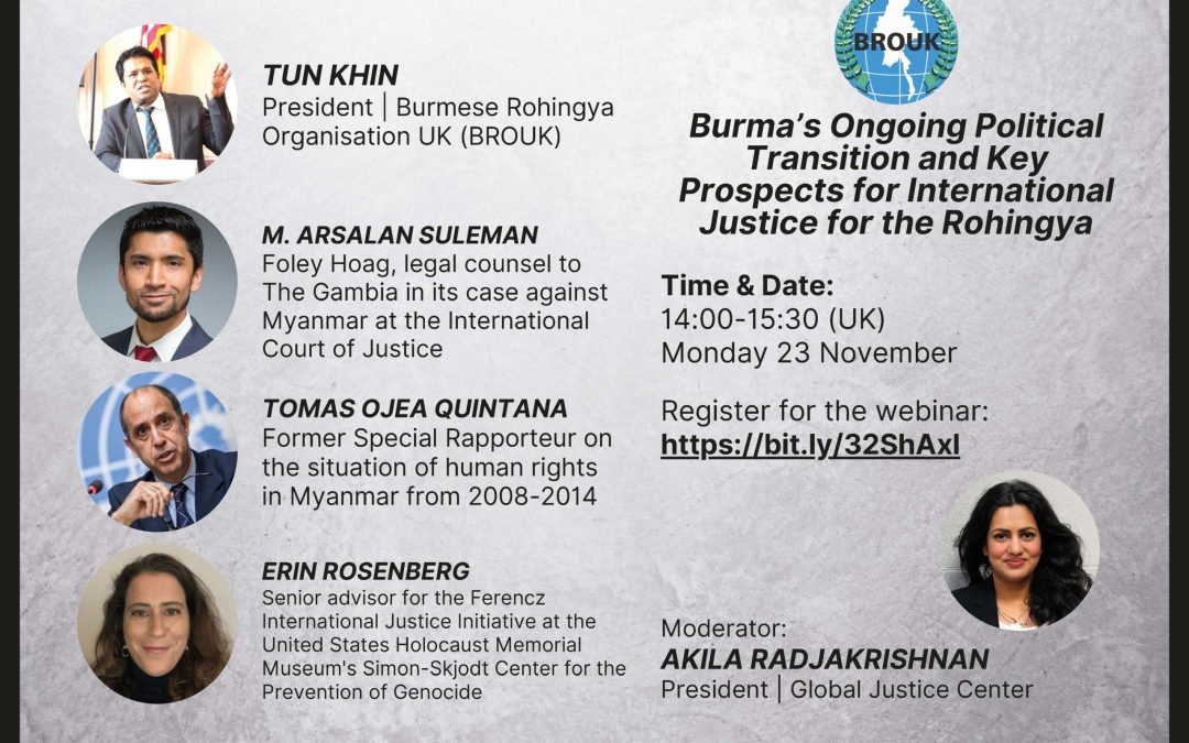 Webinar: Burma's Ongoing Political Transition and Key Prospects for International Justice for the Rohingya.
