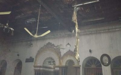 Fire scorched mosque in Rangoon