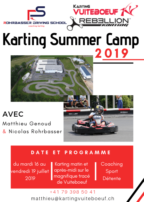 Affiche du camp d'été de karting à Vuiteboeuf